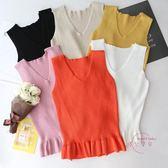售完即止-夏季荷葉邊裙擺式無袖上衣V領冰絲針織背心吊帶女打底小衫潮庫存清出(6-1T)