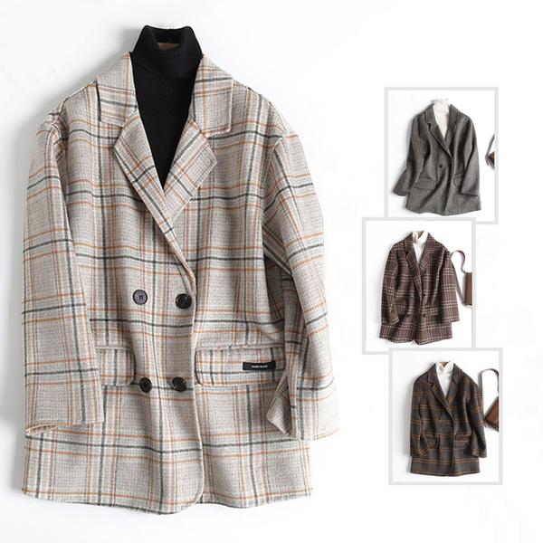 *ORead*韓範復古翻領雙排扣格紋毛呢大衣西裝外套(4色S~M)