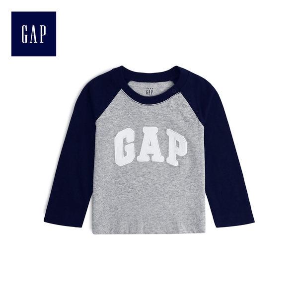 Gap男嬰兒 活力插肩袖圓領長袖T恤 496538-淺麻灰