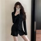 襯裙 心機露背設計感襯衫連衣裙秋裝新款收腰顯瘦性感包臀裙女 莎瓦迪卡