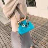 法國小眾小包包新款潮果凍超火斜背包包女包夏質感錬條單肩包  【快速出貨】