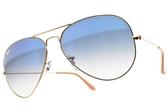 RayBan 太陽眼鏡 RB3025 0013F (金-漸層藍) 時尚經典飛官款墨鏡 # 金橘眼鏡