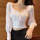 春季新款性感方領露鎖骨泡泡袖上衣女露臍短款繫帶純色木耳邊襯衫 韓國時尚週 免運
