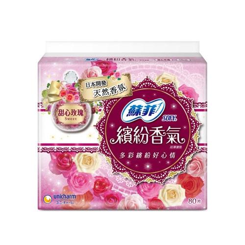 蘇菲繽紛香氣護墊-甜心玫瑰14cm X80片【愛買】
