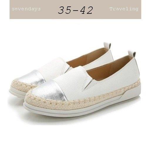 大尺碼女鞋小尺碼女鞋真皮厚底前緣拼色素面真皮草編鞋休閒鞋樂福鞋豆豆鞋女鞋黑色白色(35-42)