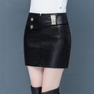 皮裙半身裙2021新款韓版顯瘦包臀一步裙短款時尚小皮裙子短裙 快速出貨
