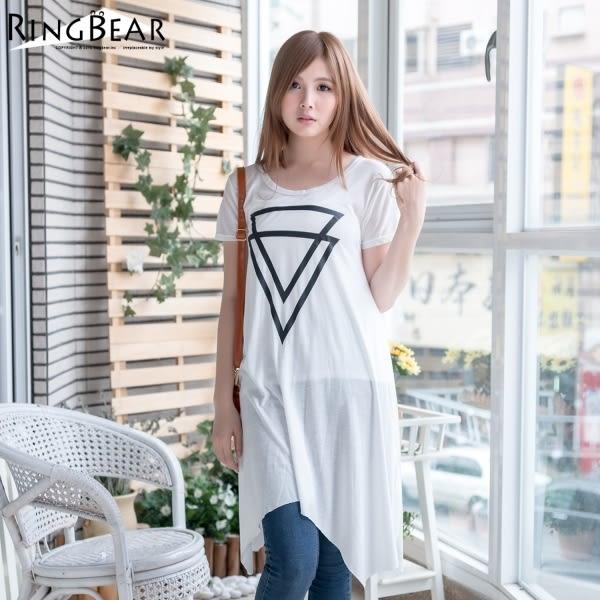 長版上衣--韓風簡潔三角形幾何圖印花短袖A字下擺長上衣(白.黑S-2L)-D316眼圈熊中大尺碼