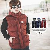 背心 保暖厚鋪棉雙色拼接高領連帽背心外套【N9993J】