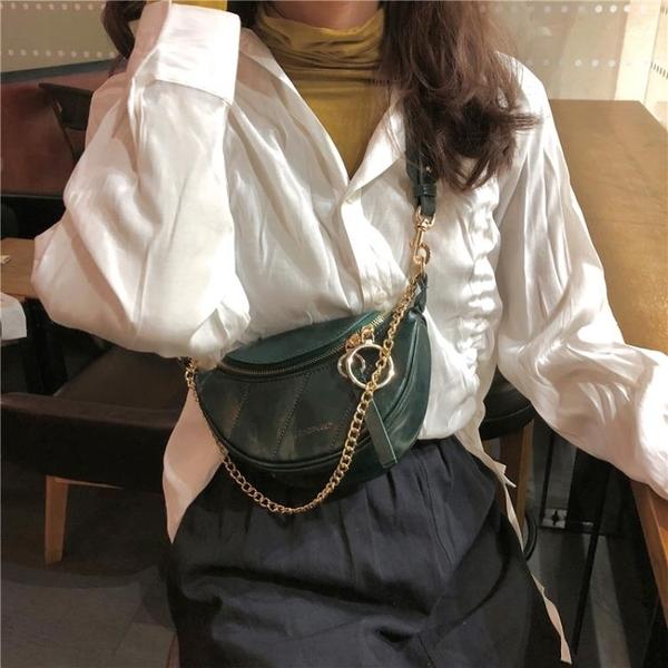 2019網紅新款褶皺腰包小香風菱格包圓環飾手提單肩包斜背胸包包女 母親節禮物