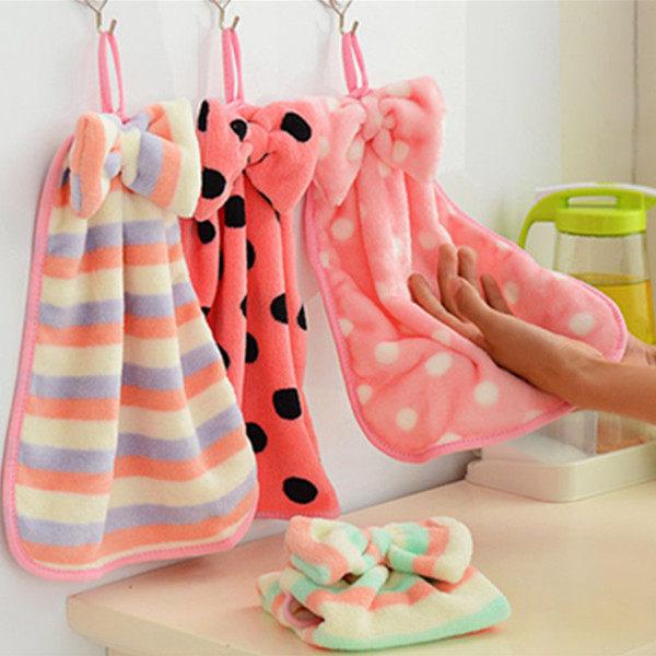 韓國珊瑚絨蝴蝶結掛式擦手巾 擦手巾掛式 強水力超強不掉毛 廚房毛巾【H03】米菈生活館
