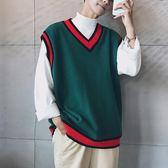 秋季韓國ulzzang學院風情侶學生針織衫chic無袖背心毛衣男女馬甲『摩登大道』