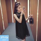 【V1082】shiny藍格子-韓範氣質.純色鏤空圓領寬鬆無袖背心連身裙
