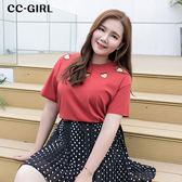 中大尺碼 愛心簍空棉T恤上衣~共兩色 - 適XL~4L《 66256J 》CC-GIRL