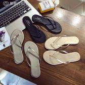 JQII黑色皮簡約海邊平底跟防滑夾腳人字拖女夏時尚外穿沙灘涼拖鞋 【創時代3c館】