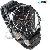 WIRED 極速三眼 多功能計時碼錶 IP黑電鍍 男錶 AY8005X1 VD53-KE30SD