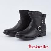 itabella.質感柔軟綿羊皮飾釦短靴(8755-91黑色)