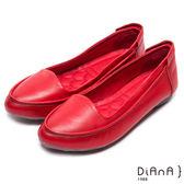 DIANA 柔和典雅--魅力質感真皮平底娃娃鞋(紅)★零碼出清只供退貨恕無法換貨★