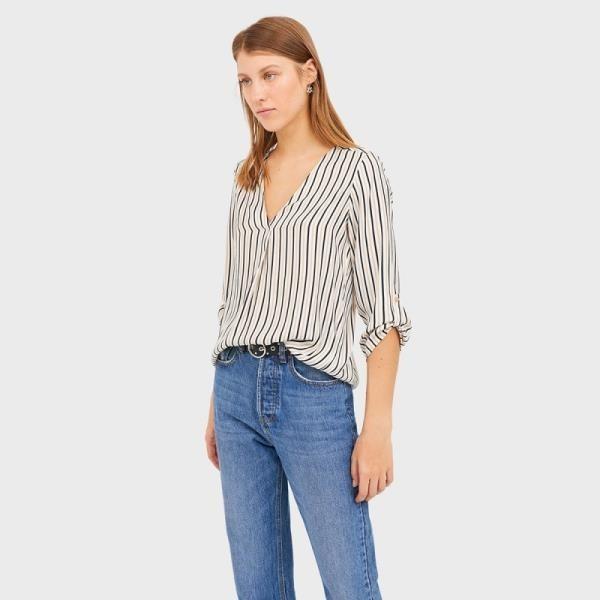 【南紡購物中心】《D Fina 時尚女裝》 【大尺碼】寬鬆時尚 修身線條V領襯衫