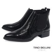 Tino Bellini義大利進口時髦漆皮蛇紋切爾西靴 _ 黑  B69003 歐洲進口款