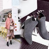 {丁果時尚}大尺碼女鞋34-43標準碼客製款►2017明星款絨皮側拉鍊尖頭顯瘦中跟短靴子3色