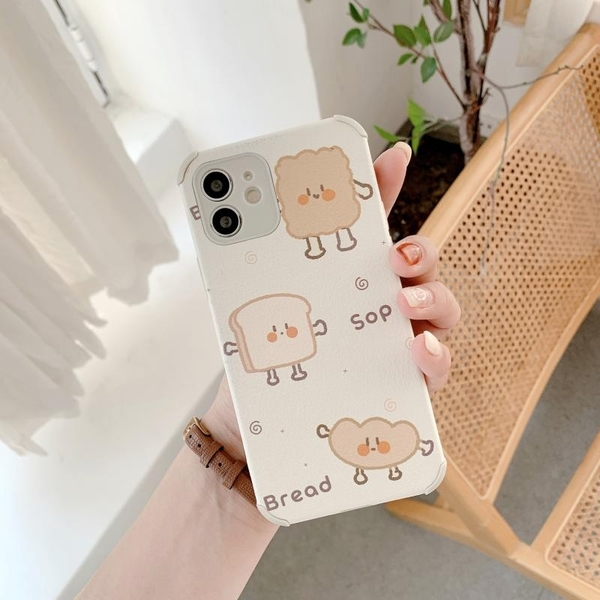 吐司麵包 iPhone SE2 XS Max XR i7 i8 plus 浮雕手機殼 創意個性 保護鏡頭 全包蠶絲 四角加厚 防摔軟殼