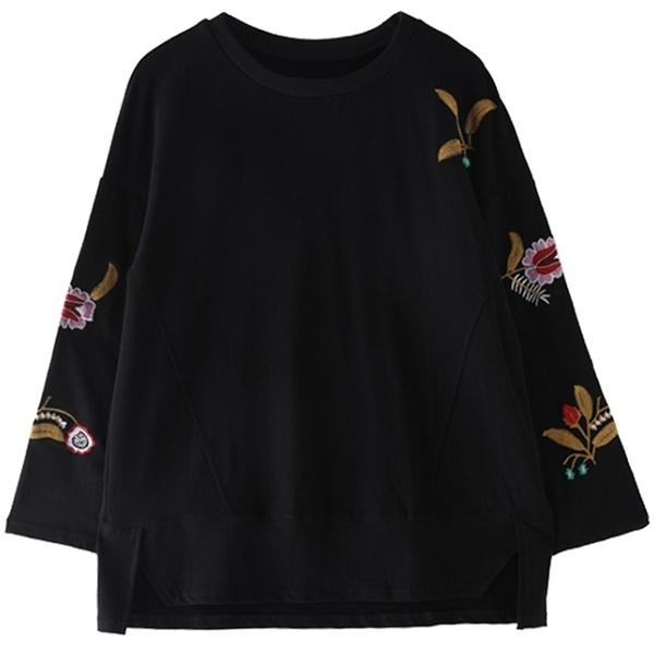 圓領刺繡寬鬆純色上衣 M~4XL【514529W】【現+預】-流行前線-