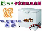 台製瑞興超低溫上掀冰櫃/6尺/485L/冷凍櫃/冰櫃/白色冰櫃/低溫冰櫃/-50℃/臥式冰櫃/大金餐飲