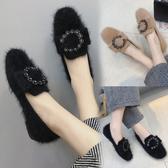 毛毛鞋女2020秋冬新款平底百搭學生一腳蹬休閒棉鞋加絨軟底豆豆鞋