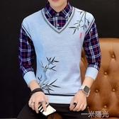 假兩件毛衣男加厚打底衫新款韓版男士襯衫領針織衫馬甲外套潮 一米陽光