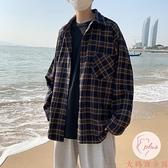 夏季復古長袖格子襯衫男韓版休閑襯衣學生上衣【大碼百分百】