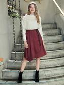 秋冬單一價[H2O]不對稱一片圍裹式條絨素材膝下裙 - 紅/深藍色 #8632023