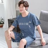 睡衣 睡衣男士夏季短袖青少薄款全棉夏天大碼寬鬆家居服套裝
