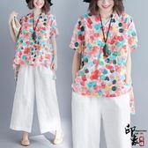 彩色波點半袖上衣棉麻大尺碼女不規則印花短袖T恤衫 優惠兩天