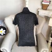 短袖亮絲閃光絲針織衫 銀絲彈力修身毛衣