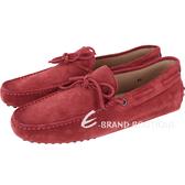 TOD'S Gommino Driving 麂皮綁帶豆豆休閒鞋(男鞋/紅色) 1240500-54