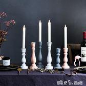 燭臺 北歐鄉村風格實木羅馬柱餐桌面裝飾蠟燭燭臺擺件陳列道具擺設 潔思米