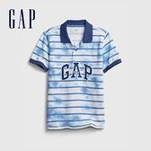 Gap男童 Logo紮染透氣POLO衫 682079-藍色紮染