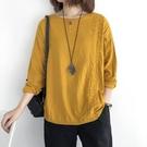 棉麻上衣棉麻上衣女秋季新款寬鬆大碼長袖打底衫文藝素色顯瘦洋氣T恤新年禮物