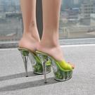 水晶涼拖鞋細跟超高跟魚嘴拖鞋女花朵15cm防水台外穿時尚百搭涼鞋  一米陽光