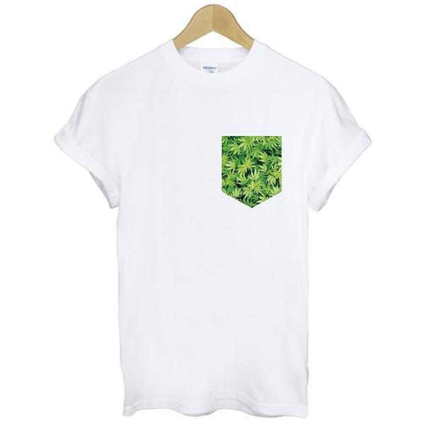 Printed Pocket-Cannabis短袖T恤 白色 假口袋大麻葉dope obey潮t