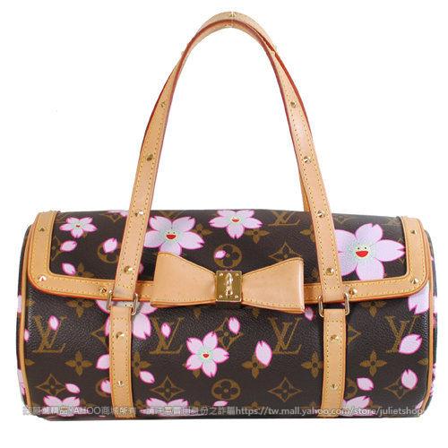 茱麗葉精品 二手名牌【9成新】Louis Vuitton LV 限量版櫻花笑臉圖案蝴蝶結飾鉚釘圓桶包