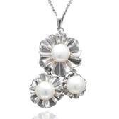 項鍊 925純銀 珍珠吊墜-唯美花朵生日聖誕節交換禮物女飾品73dh23[時尚巴黎]