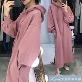 韓版孕婦裝秋冬時尚款加絨加厚潮媽洋裝純色孕婦衛衣中長款春秋 快速出貨