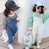 吊帶褲 女童裝秋裝新款時尚正韓兒童牛仔吊帶褲女寶寶小孩長褲子洋氣 阿卡娜
