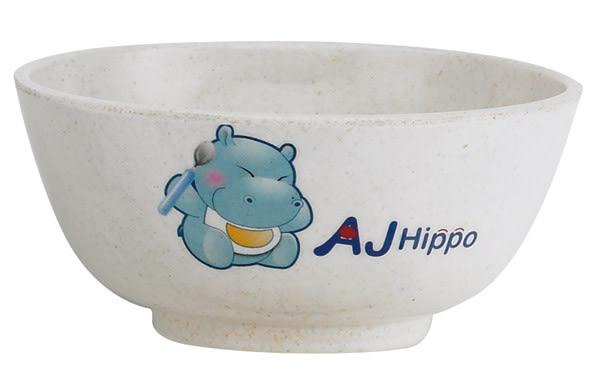 【奇買親子購物網】AJ Hippo AJ Hippo小河馬【環保植物纖維餐具】兒童飯碗【耐摔、可微波】