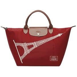【雪曼國際精品】Longchamp 經典限量款M號短把巴黎鐵塔包(棗紅色)