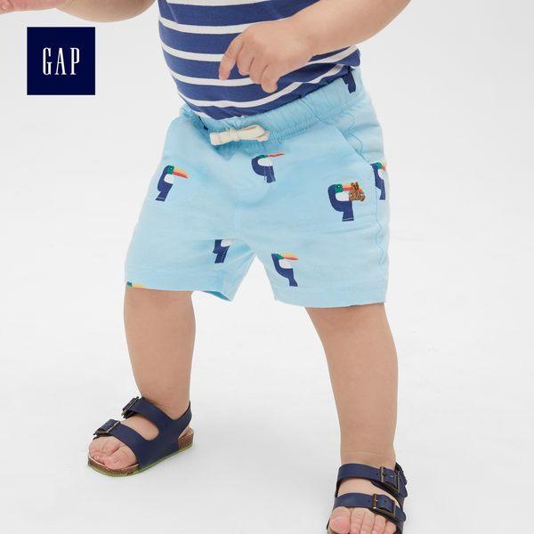 Gap男嬰兒 布萊納柔軟印花鬆緊腰短褲 464218-淺藍色格子