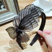 韓版高檔蕾絲條紋多層大蝴蝶結帶齒防滑髪箍頭箍壓髪髪箍