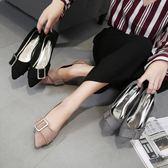 女鞋秋季 新款韓國百搭潮瓢鞋平跟淺口單鞋豆豆鞋尖頭平底鞋女 麻吉部落