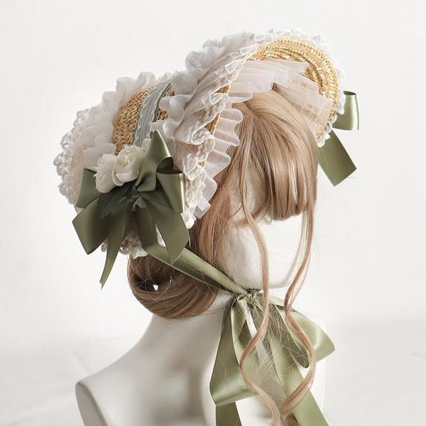 洛麗塔帽子手作波奈特多色追憶BNT原創設計田園風lolita草帽女夏 韓國時尚週